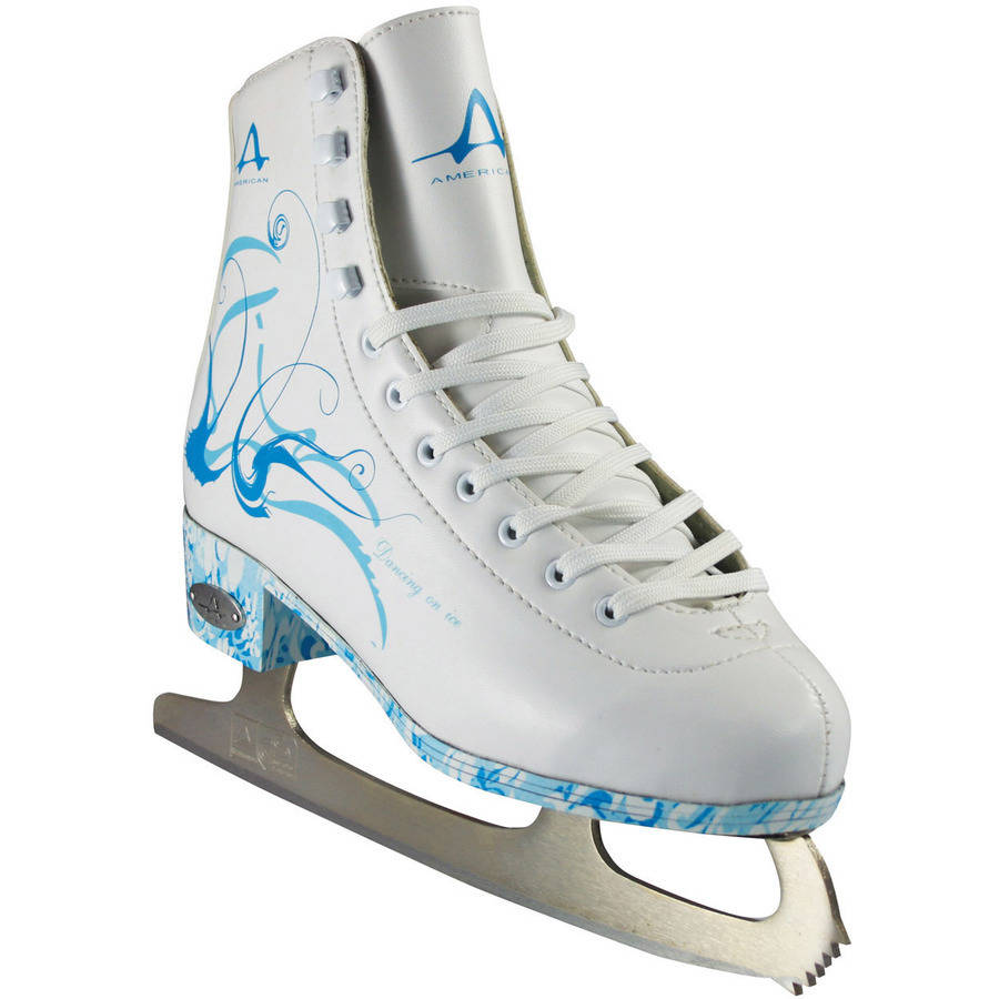 American Athletic Girls'/Women's Sumilon-Lined Figure Skates with Turquoise Outsole