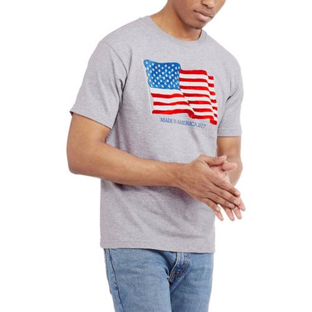 0a49df91e SEASONAL - Men's Made in America Flag T-Shirt - Walmart.com