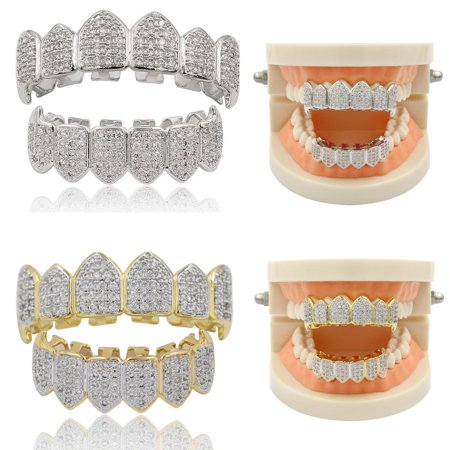 18K Gold & Silver Tone CZ Fang Bottom Row GRILLZ Mouth Teeth Grills, Plated Macro Pave CZ Iced-out Grillz with EXTRA Molding Bars Included,Silver - Gold Grill Teeth
