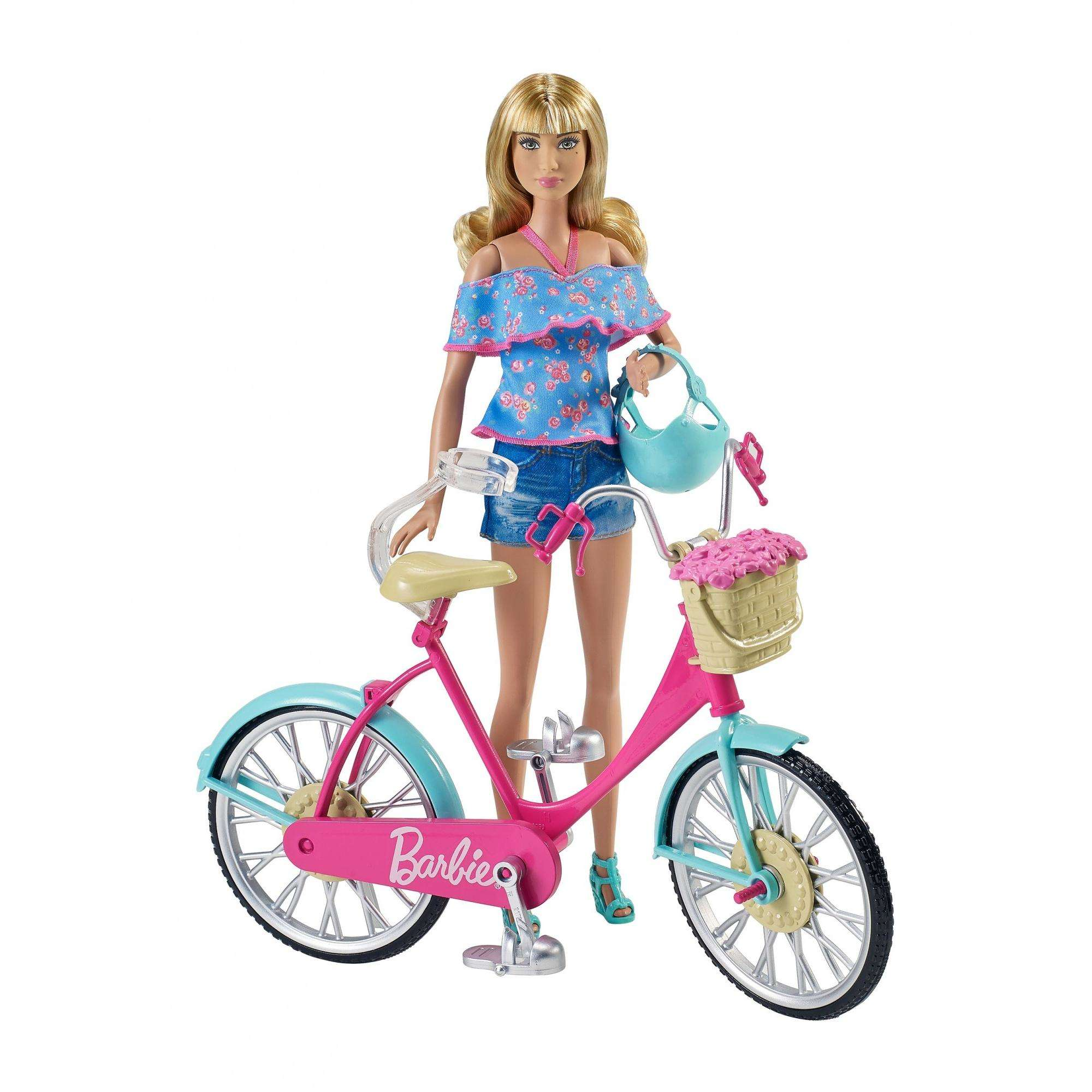 Barbie Riding Bicycle with Flower Basket and Helmet by MATTEL INC.