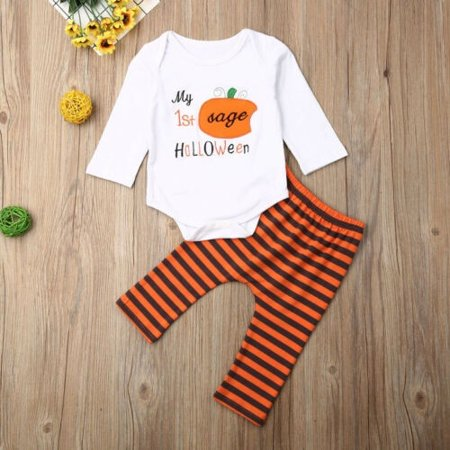 Baby's 1st Halloween Pumpkin Carving (Newborn Baby My 1st Halloween Outfit Boy Girl Pumpkin Letter Long Sleeve Romper Top+Striped Pants Leggings)