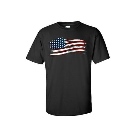 Image of Patriotic Tattered American Flag Adult Short Sleeve T-Shirt-Black-Medium