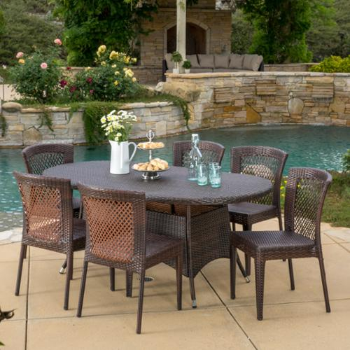 Lawrence 7 Piece Outdoor Wicker Dining Set