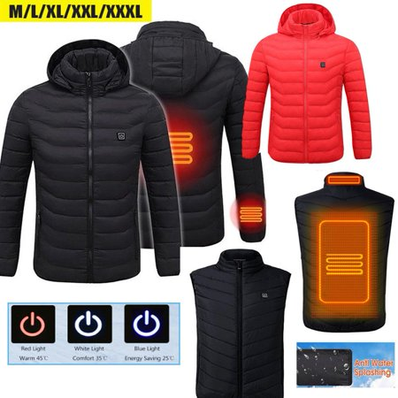 USB Heater Hunting Vest Heated Jacket Heating Winter Clothes Men Thermal Outdoor-Black L