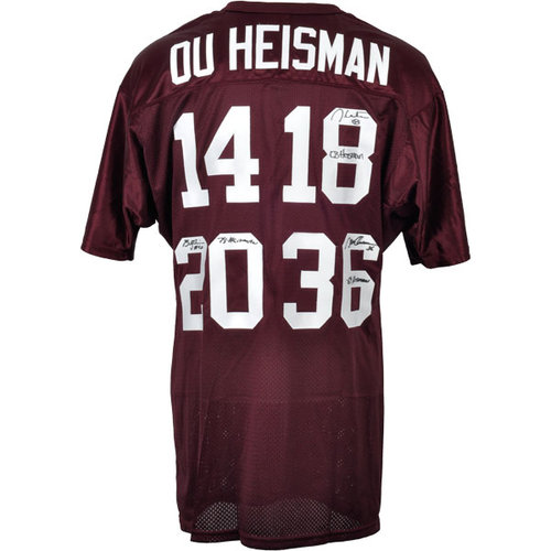"""NCAA - Jason White, Billy Sims & Steve Owens Oklahoma Sooners Autographed Red Jersey with Inscription """"HEISMAN 69/78/03"""""""