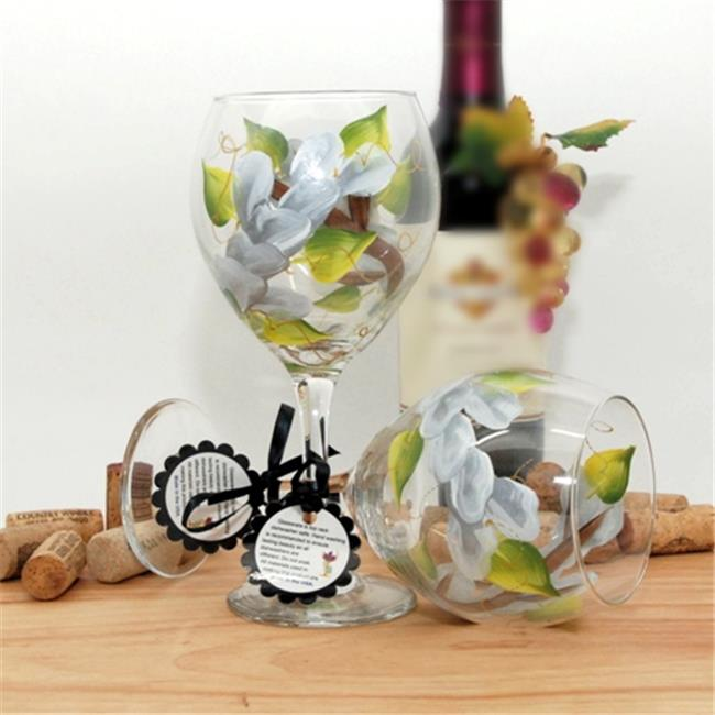 Judi Painted it WA-WH Floral Wrap Around Painted Wine Glass, White