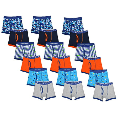 Wonder Nation Toddler Boys Underwear, 18 Pack Covered Elastic Boxer Briefs Elastic Waist Boxers