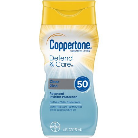 Coppertone Defend & Care Clear Zinc Sunscreen Lotion SPF 50, 6 (Equate Clear Zinc Oxide Sunscreen Cream Spf 50)