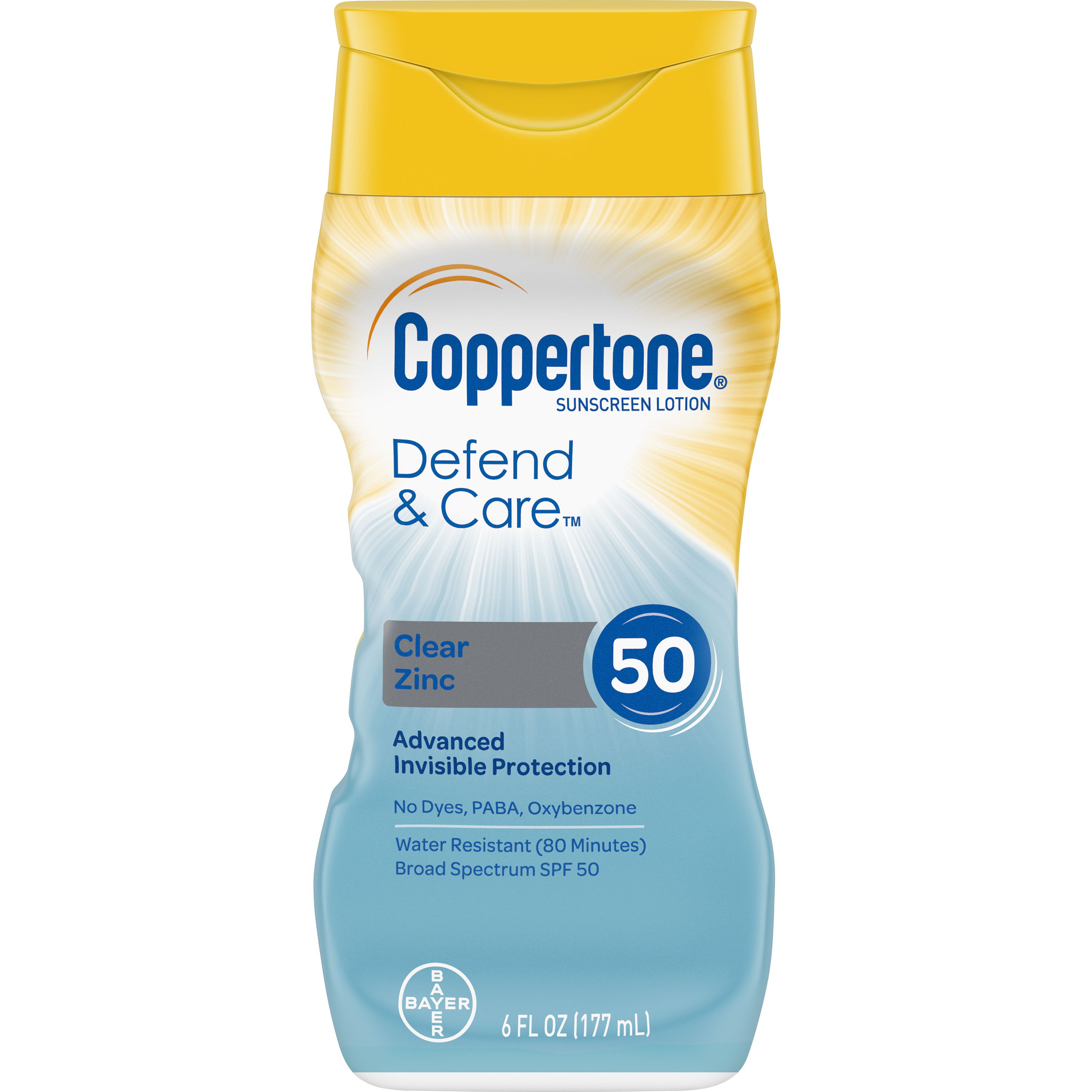 Coppertone Defend & Care Clear Zinc Sunscreen Lotion SPF 50, 6 oz