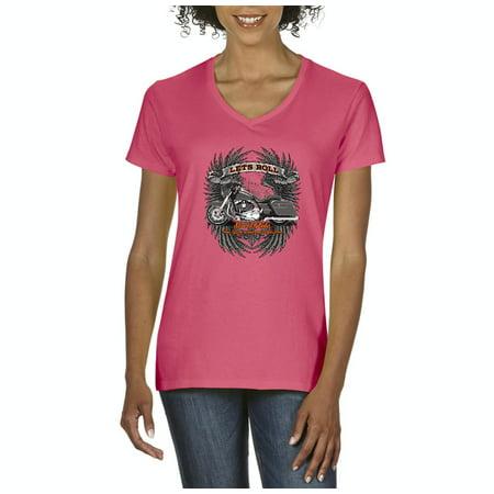 eaf81e5f J_H_I - Biker T-Shirt Let'S Roll Street Glide Womens Shirts V-neck -  Walmart.com