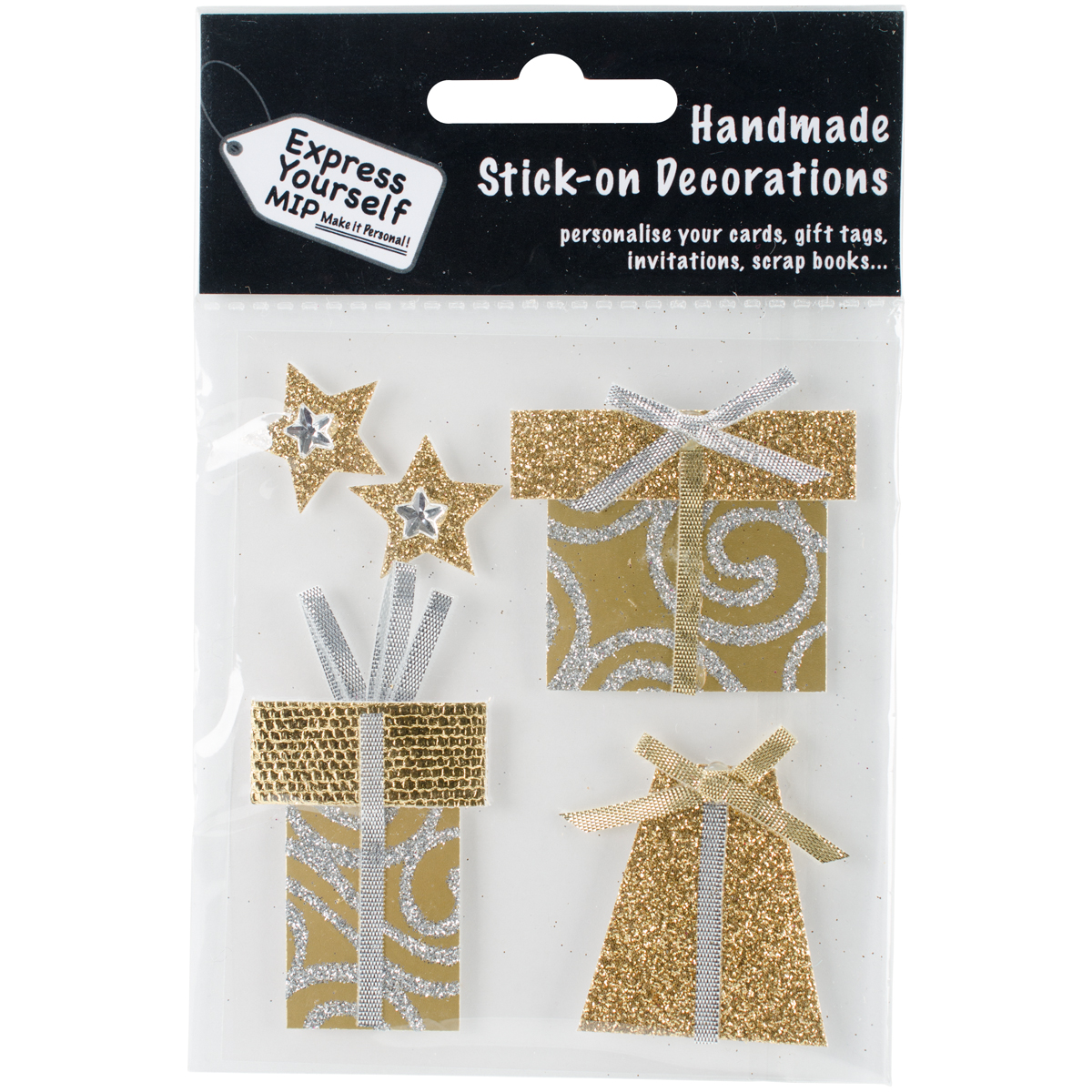 Express Yourself MIP 3D Stickers-Gold Gift Boxes & Stars