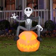 Nightmare before Christmas 5' Tall Disney Jack Skellington with Pumpkin Halloween Airblown Inflatable