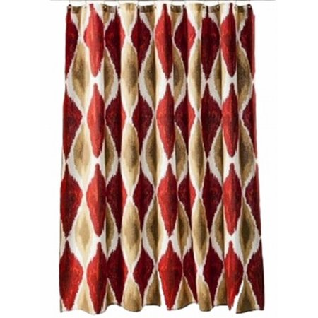 Red Gold Ikat Fabric Shower Curtain