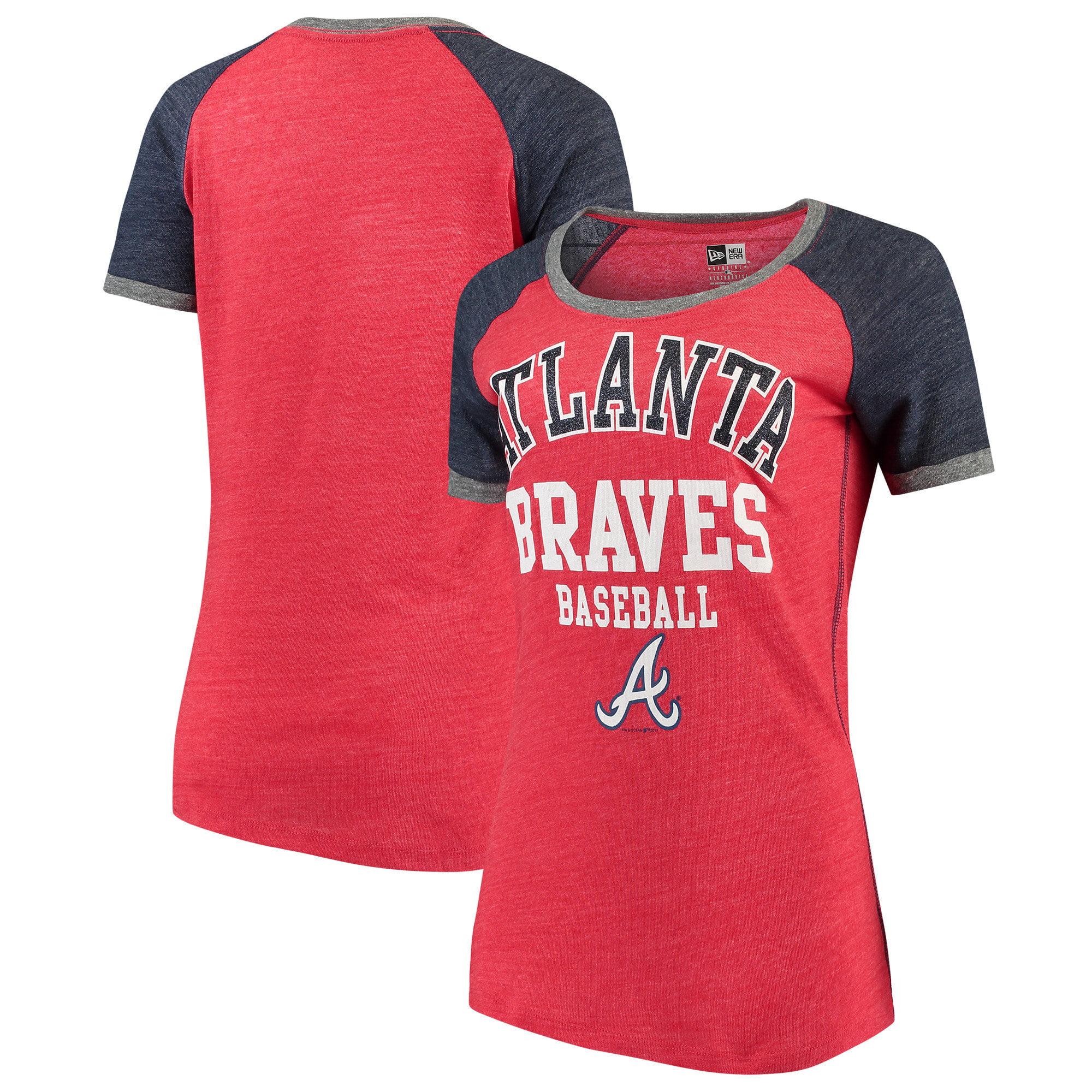 Atlanta Braves 5th & Ocean by New Era Women's Jersey Tri-Blend Raglan T-Shirt - Red