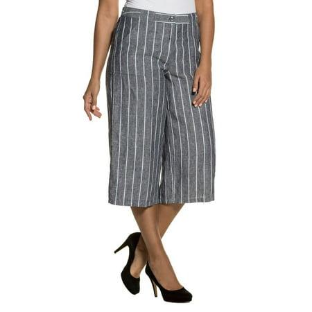Ulla Popken Women's Plus Size Straight Cut Stripe Linen Culottes 710445