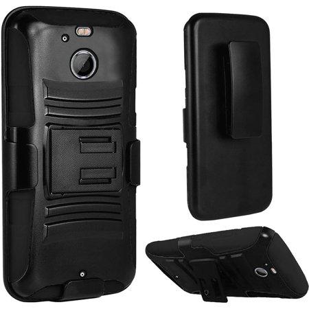 Side Stand Bolt (For HTC Bolt Case - Hybrid Phone Cover Side Kickstand With Holster Clip - Black+Black)