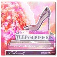 Runway Avenue Fashion and Glam Wall Art Canvas Prints 'La Bella Vita' Shoes - Pink, Orange