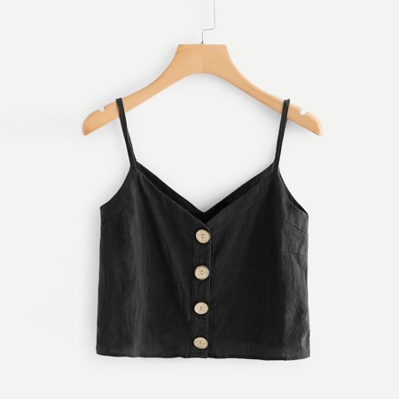 Fashion Womens Vest Single Breasted Button Sleeveless Tops Solid V-Neck Camis
