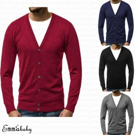 8466892e61 Emmababy - Men´s Casual Slim Fit Knit V-Neck Cardigan Stylish Sweater Coat  Jacket Tops - Walmart.com