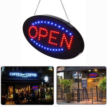 EEEKit Neon LED Sign Open, Light Up Business Displays Board Electric Advertisement Oval for Barber Shop Bar   Restaurants Hotel, Two Modes Flashing & Steady Light