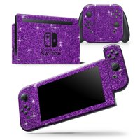 Sparkling Purple Ultra Metallic Glitter - Skin Wrap Decal Compatible with the Nintendo Switch Console + JoyCons
