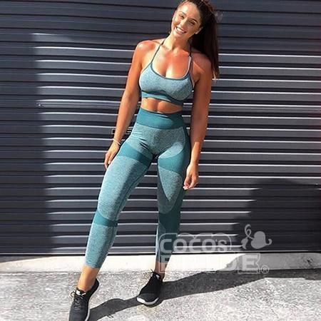 Women Fitness Clothes Sportswear Seamless Breathable Yoga Active Wear Tops Pants