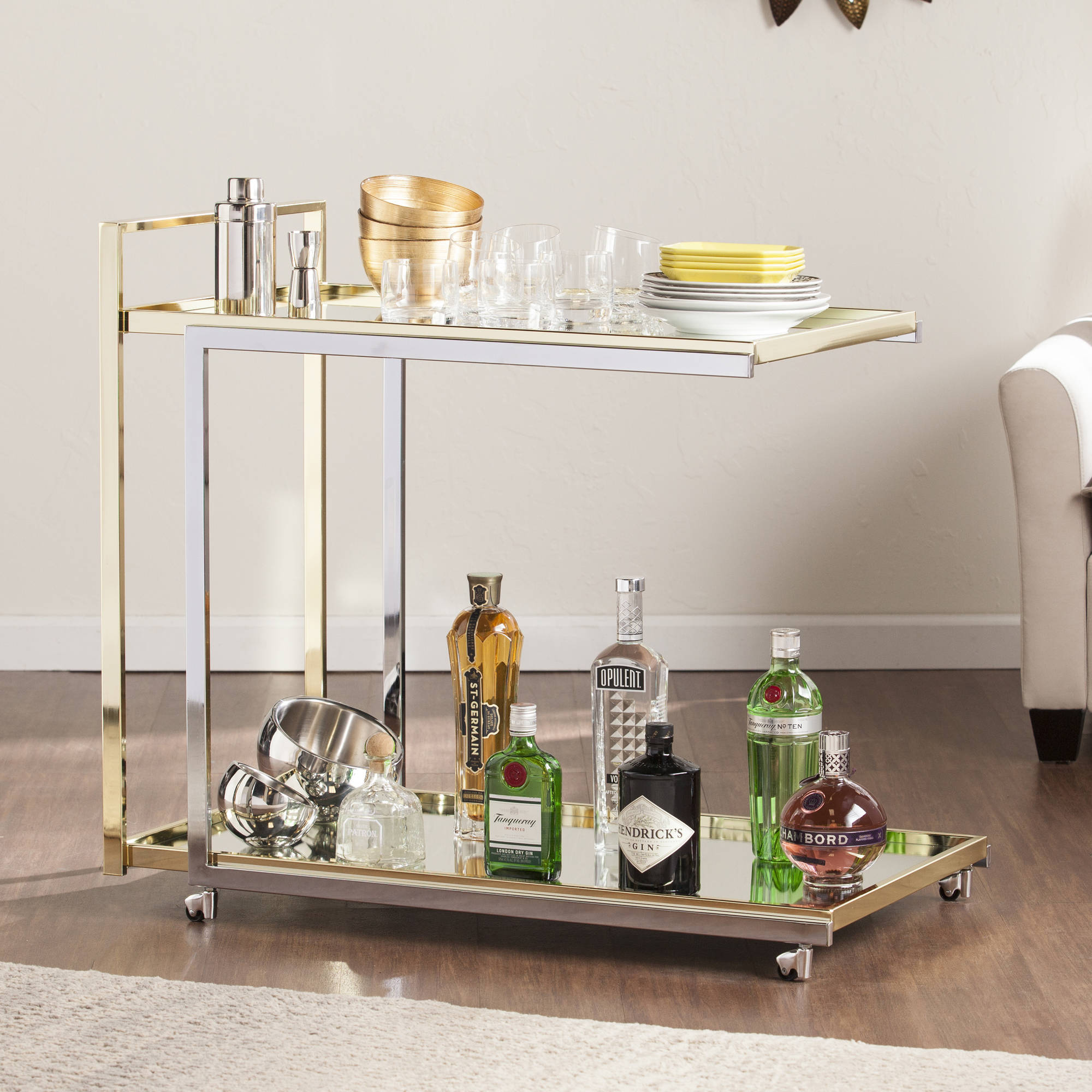 Southern Enterprises Burbank Rolling Bar Cart, Silver and Gold