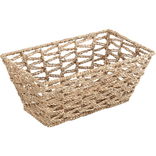 Mainstays Small Dark Seagrass Basket, Natural