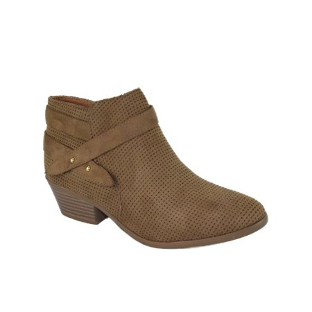 7835d507bd291 Soda - Portia Tan Brown Suede Soda Women Ankle Boots Small Short Heel  Booties Buckled Side Zipper - Walmart.com
