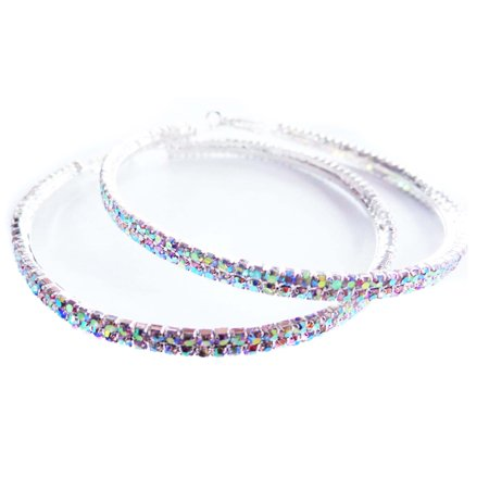 Crystal Iridescent Earrings 3 Inch Hoop Double Paved