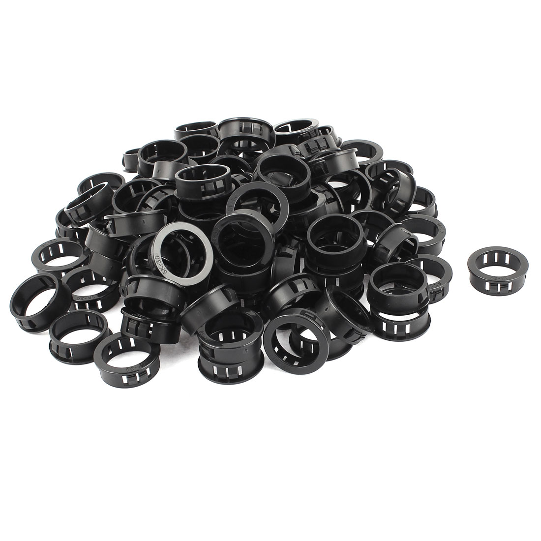 Unique Bargains 30mm Black Plastic Cable Hose Snap Locking Bushing Protective Grommet 100 Pcs