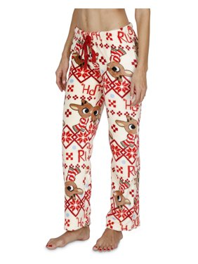 MJC Women's Rudolph The Red-Nosed Reindeer Fair Isle Plush Lounge Pants, White, Size: Large