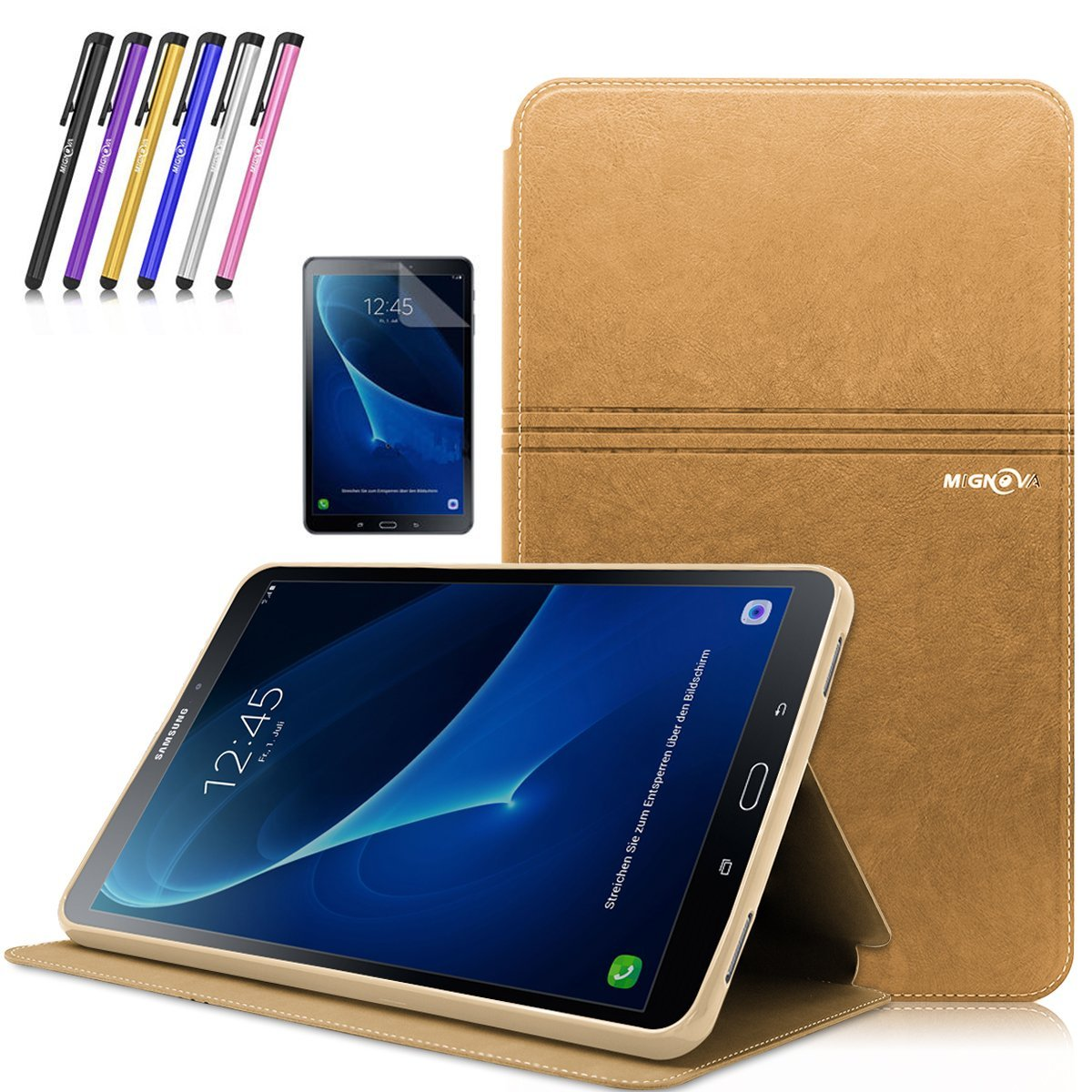 Mignova Tab A 10.1 Case , Slim Lightweight Smart Cover Auto Sleep/Wake Feature for Samsung Galaxy Tab A 10.1 Inch (SM-T580 /SM-T585) Tablet 2016 Release +Screen Protector Film and Stylus Pen (Gold)