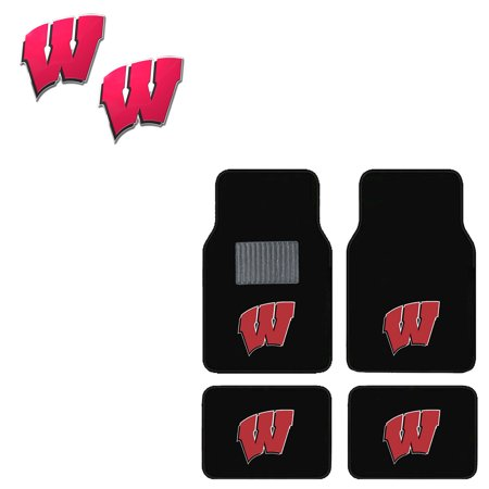 Wisconsin Badgers 4 Pc Carpet Floor Mats And 2 Color Emblems