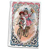 Victorian Rose Frame - 3D Rose Cute Boy and Girl on a Tandem Bicycle with Ornate Victorian Frame Towel 15 x 22