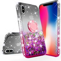 iPhone Xs Max 2018 Case, Glitter Liquid Floating Quicksand Phone Case Girls Women Kickstand,Bling Diamond Bumper Ring Stand Protective iPhone Xs Max, Hot Pink