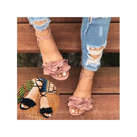 Meigar Women Gladiator Flat Heels Lace Up Sandals Fashion Women Ankle Strap Shoes