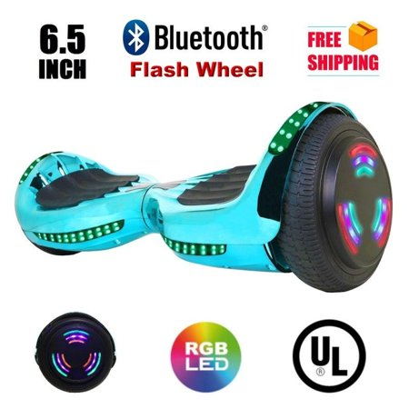 "Flash Wheel UL 2272 Certified Hoverboard 6.5"" Bluetooth Speaker with LED Light Self Balancing"