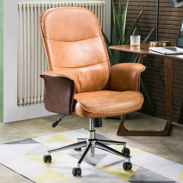 Ovios Ergonomic Office Chair Modern Computer Desk Chair High Back Leathe Desk Chair With Lumbar Support For Executive Or Home Office Brown Light Brown Walmart Com Walmart Com