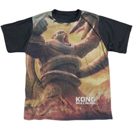 Skull Jungle (Kong Skull Island The Mighty Jungle Big Boys Youth Sublimated Shirt with Black Back )