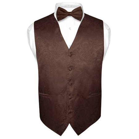 Vest Bow Tie (Men's Paisley Design Dress Vest & Bow Tie BROWN Color BowTie Set for Suit or)