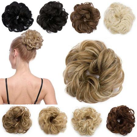 S-noilite Women Hair Pieces Messy Hair Scrunchie Fake Hair Bun Extensions Wigs 1 pcs Dark Blonde & Ash Blonde,30g
