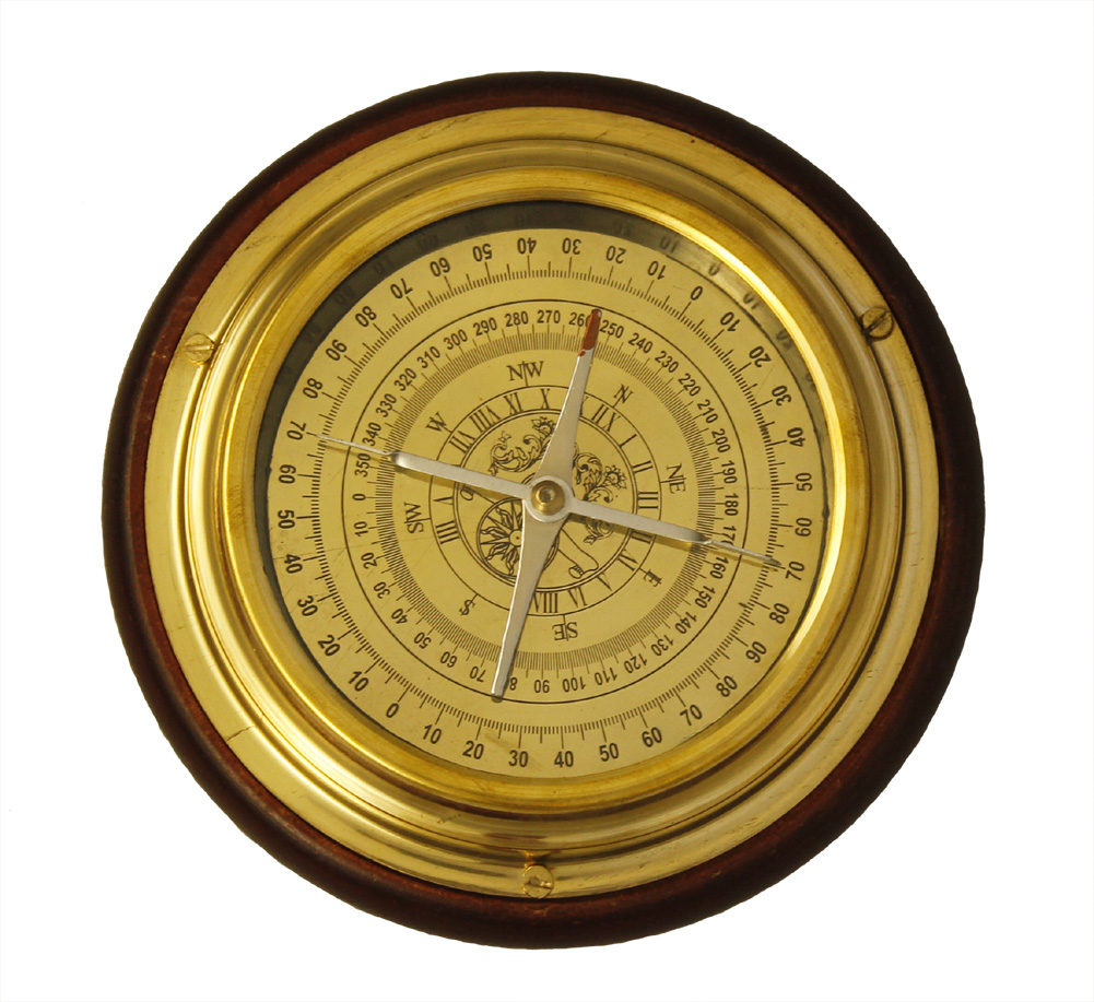 "6"" BRASS DESKTOP COMPASS - Wood Base - SHIP NAVIGATION"