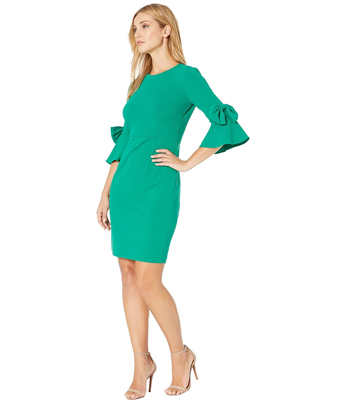 Donna Morgan Womens 3//4 Bell Sleeve Shift Dress with Bow Detail Dress