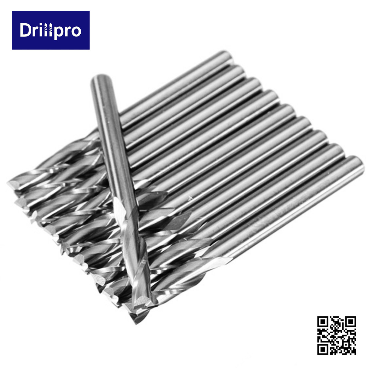 10x 1//8/'/' 3.175mm Carbide CNC Double Two 2 Flute Spiral Bits End Mill Router  !