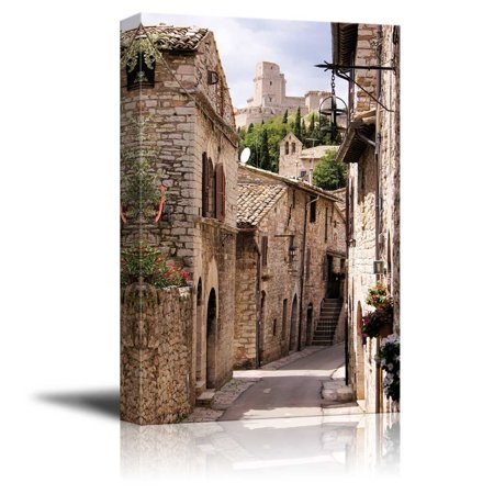 Medieval Twelve Light (Beautiful Landscape Scenery Medieval Street in the Italian Hill Town of Assisi - Canvas Art Wall Decor - 12
