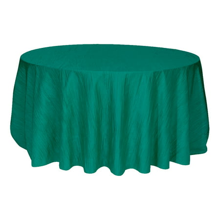 Your Chair Covers - 120 Inch Round Crinkle Taffeta Tablecloth Teal for Wedding, Party, Birthday, Patio, etc. (Teal Table Cloth Linen)
