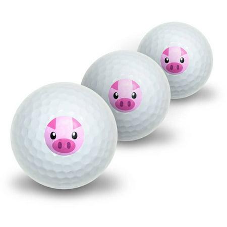 Pig Face Closeup Farm Animal Novelty Golf Balls, 3pk