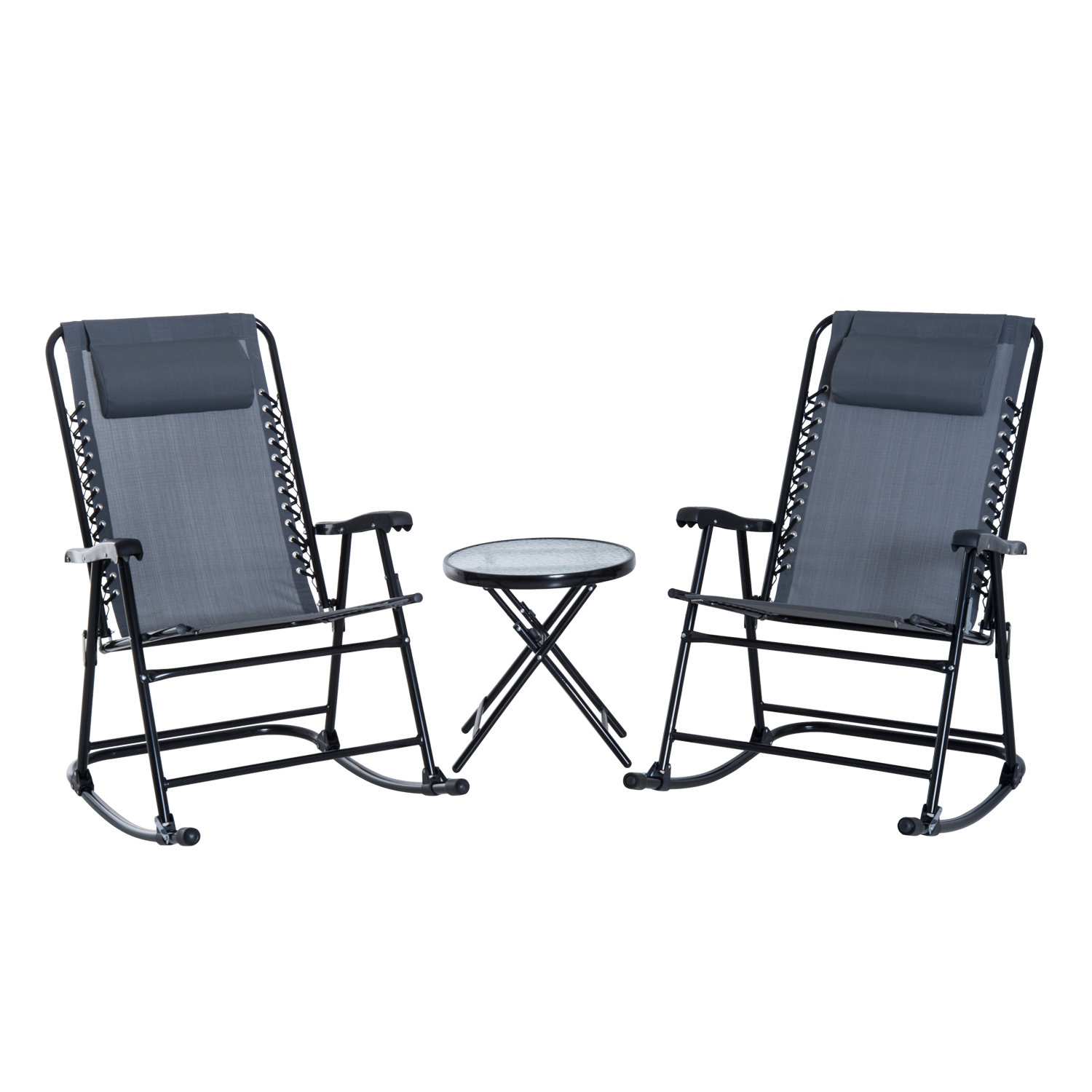 Outsunny Folding Outdoor Rocking Chair Set with Side Table