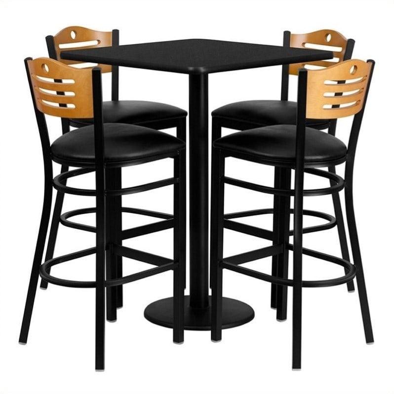"Flash Furniture 30"" Square Black Laminate Table Set with 4 Wood Slat Back Metal Barstools, Black Vinyl Seat"